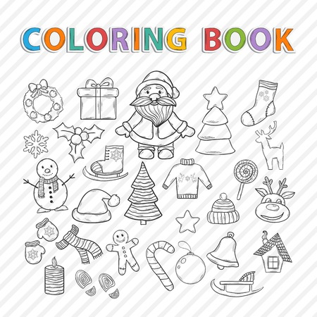 Vector coloring book. Merry Christmas hand drawn set,with Santa Claus,snowman,Christmas tree,sleigh,candy,house,ice skates,snowflake,gift,candle,Christmas wreath,Christmas toys,mittens,hat,scarf,deer Vector