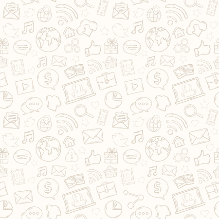 Mobile apps pattern with music,chat,gallery,speaking bubble,email,magnifying glass,shopping,search,notebook,laptop,cloud,wireless,hand 일러스트
