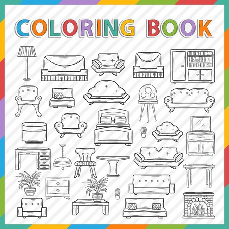 Vector coloring book.Hand drawn Icon set with various home interior decor,home accessories, furniture icons, sofas,armchairs, table,lamp, floor lamp,wardrobe,mirror,bed, chair in doddle style Illustration