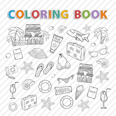 Vector coloring book.Summer vacation doodle icons set.With themed elements Vector