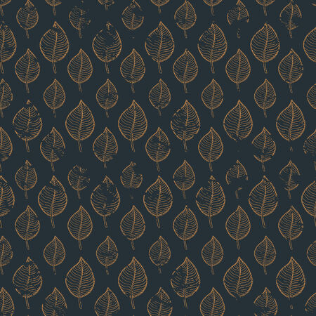 autumn leaves falling: Seamless autumn  grunge pattern with gold leaf on a dark background.Abstract gold leaf,leaf fall,defoliation,autumn leaves ,falling leaves