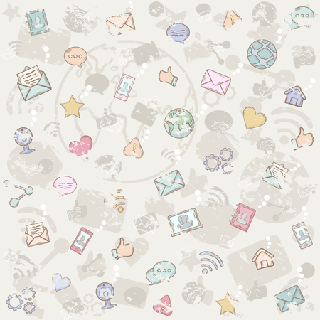 Vector seamless grunge social network pattern on a white background