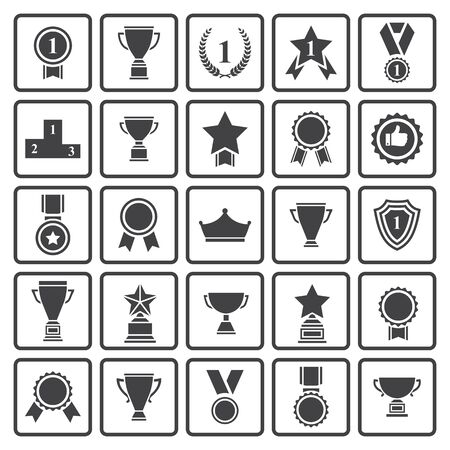 Big set of  black vector award success and victory icons with trophies,stars,cups,ribbons,rosettes,medals,medallions ,wreath, podium