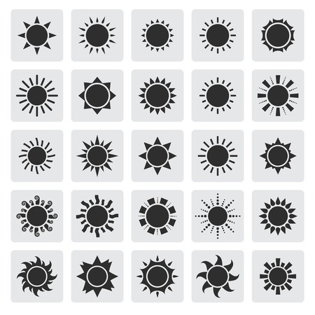 Vector big black sun icons set isolated on a gray square