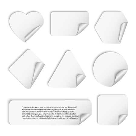 Vector set of white stickers geometric shapes with shadow and a curved corner ,isolated on a white background.Triangle, square, circle, rectangle,polygon,heart