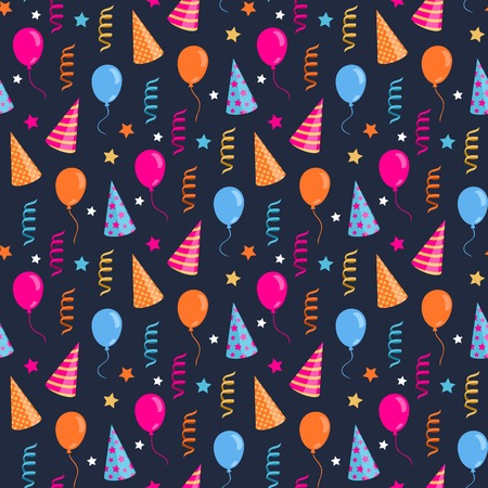 festive pattern: Vector seamless Happy birthday,festive pattern with colorful party hat,air balloon,serpentine
