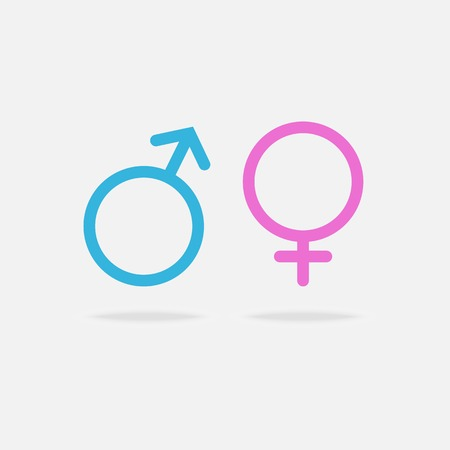 female sex: Vector Male and female sexual orientation icons with shadow,blue and pink colors.