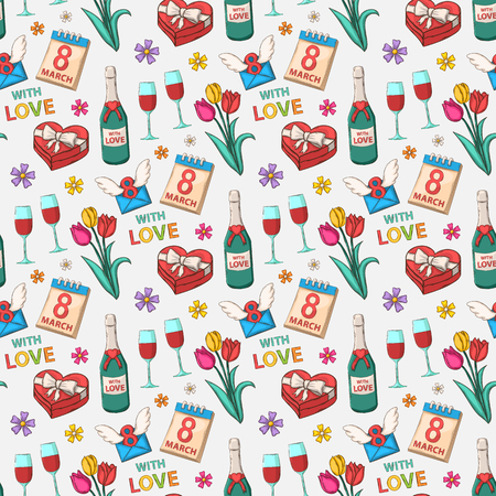Womens International Day seamless pattern on a white background Vector