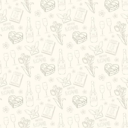 Womens Day  vector seamless pattern on a white background Vector