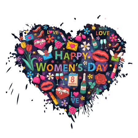 Happy Womens Day on the heart background of colorful blots, inks,themed design with  flowers, a box of chocolates,ribbon,rose,perfume,a glass of wine,lipstick,heart,email,lip imprint,calendar,march