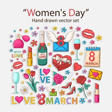 Vector hand drawn set with shadow.Womens day.Scrapbook set.Sticker. Vector