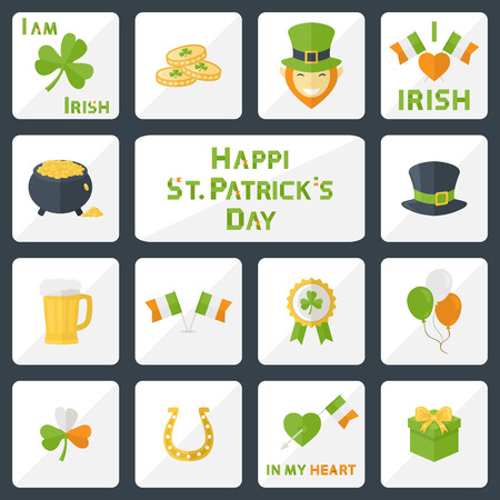 four leafed: Vector St. Patricks Day icons set for web,illustrations and design elements in flat style Illustration
