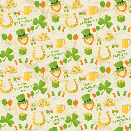 leafed: Vector seamless St. Patricks Day pattern for web,illustrations and design elements in flat style