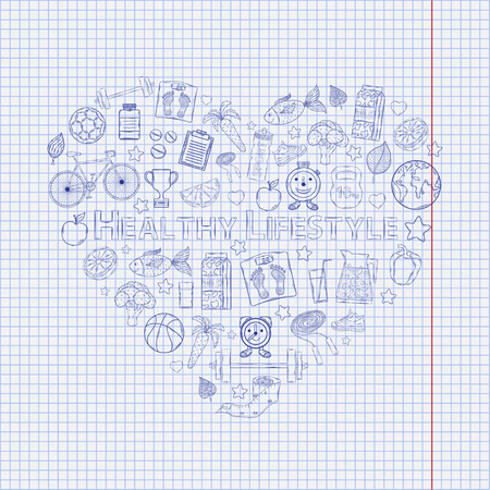 Healthy lifestyle heart on the notebook sheet Vector