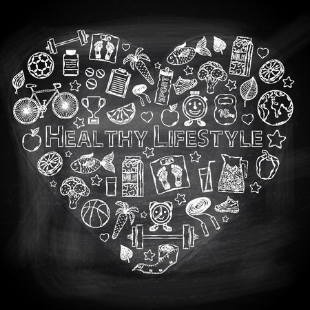 Chalk board I love healthy lifestyle in the form of heart Illustration