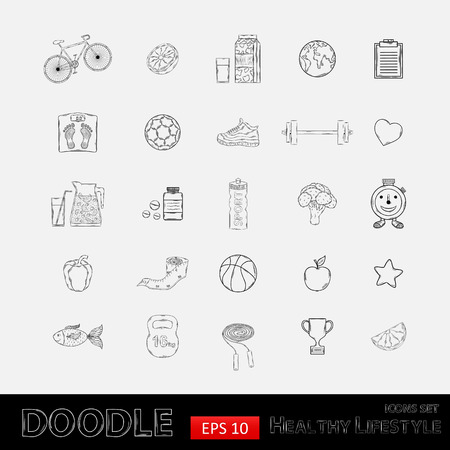 Hand drawn Icon set with various healthy lifestyle elements,bicycle,carrot, orange,grapefruit,juice,milk,sports,apple,pepper,jump rope,sneakers,fish,vitamins,measuring tape,cup,leaf,earth.Sport activities.Diet and fitness Vector