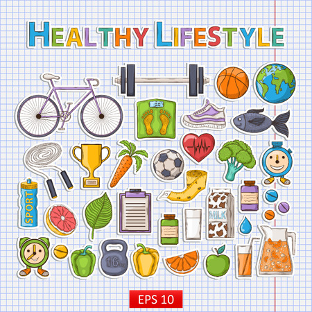 Healthy lifestyle sticker set with shadow on the notebook sheet.