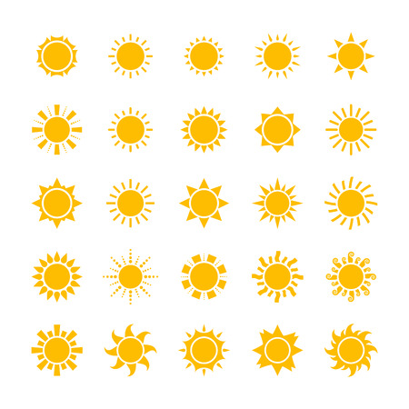 big yellow sun icons set isolated on white background