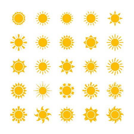 big yellow sun icons set isolated on white background