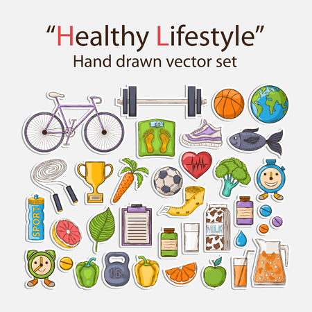 eating healthy: Healthy lifestyle sticker set with shadow