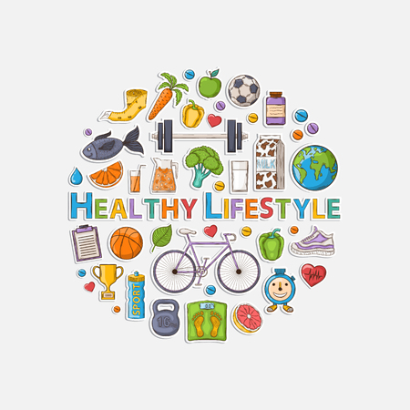 Healthy lifestyle sticker set with shadow in the form of a circle.