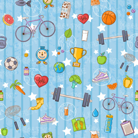 seamless pattern on a Healthy lifestyle theme  Vector