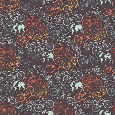 grunge pattern: Vector seamless bicycle grunge pattern.