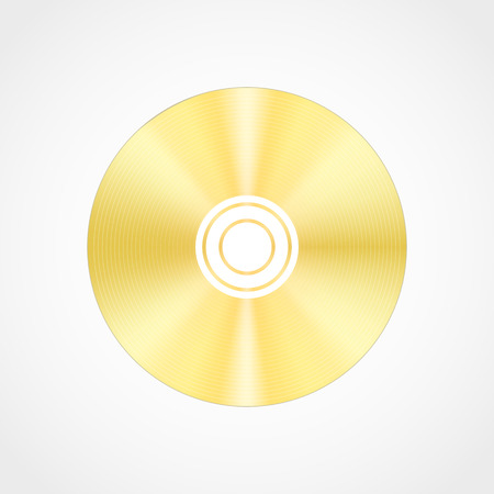 blueray: realistic  gold blank compact disc CD or DVD isolated on a white background with shadow.