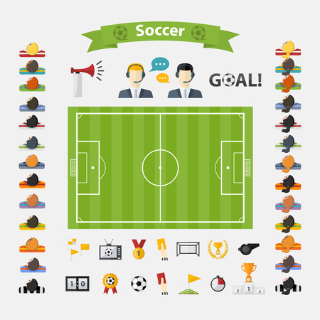football kick: Soccer Icons set.Flat design Football with womens and mens team, commentators,soccer ball,cup,scoreboard,football goals,football field,laurel wreath,whistle,television,flag,badge,hand,football horn Illustration