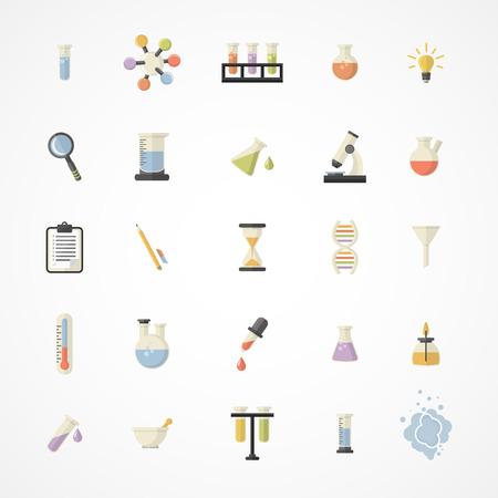 Vector Ciencia Web Icons.Chemistry icons.Science industria e investigación iconos para aprendizaje y aplicaciones web .Flat diseño