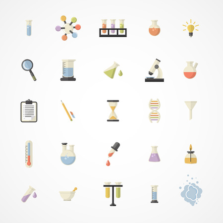 Vector Science Web Icons.Chemistry industry icons.Science and research icons for learning and web applications .Flat design Vector