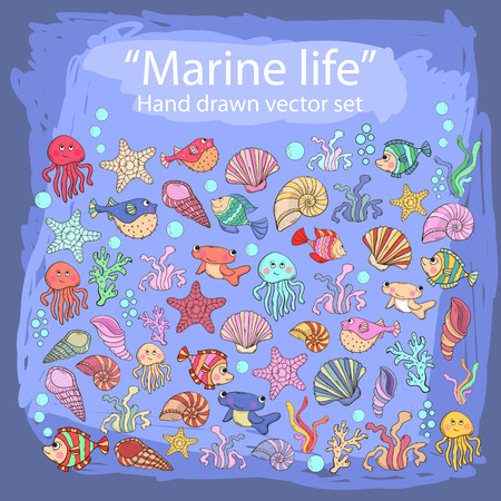 inhabitants: Hand drawn set with various sea inhabitants, seaweed,sword fish,fish urchin, octopus, jellyfish,coral,shells, barnacles,algae in doddle style.Marine life. Illustration