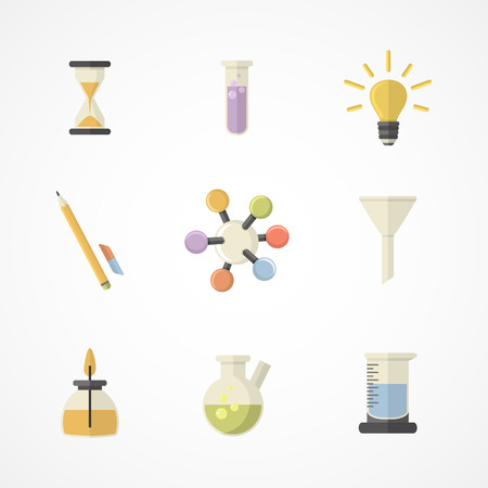Vector science and research icons for learning and web applications .Flat design.Part II Vector