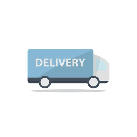 quickly: Fast blue delivery truck icon isolated on white background in flat style. Vector illustration. Illustration