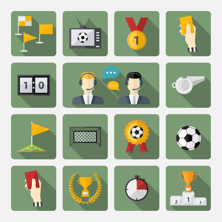 corner clock: Vector soccer icons set.Flat design football with commentators,soccer ball,cup,scoreboard,football goals,football field,laurel wreath,whistle,television,flag,badge,hand,clock,corner and shadow
