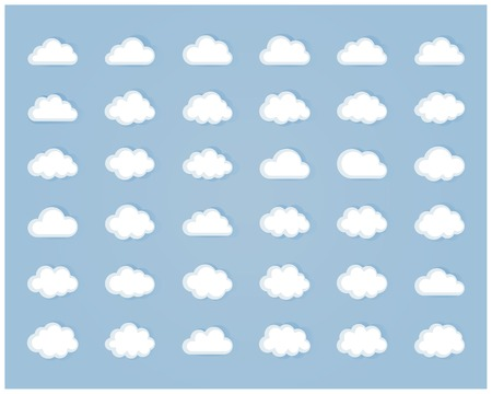 Big vector set of thirty six white cloud  shapes, cloud icons for web and app, for cloud computing and so on in flat style
