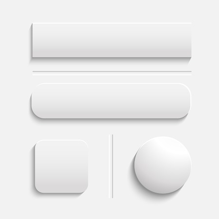Vector realistic Matted white color Web buttons symbol set isolated on a white background with shadow 일러스트