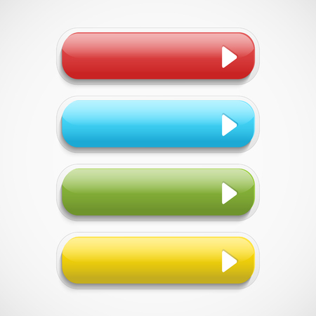matted: Vector  realistic Matted color Web  buttons  with arrow symbol isolated  on a white background with shadow