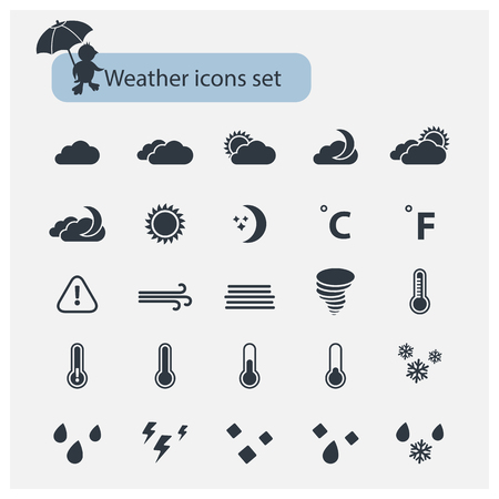 meteorological: Vector Weather basic black icons set with isolated on a white background