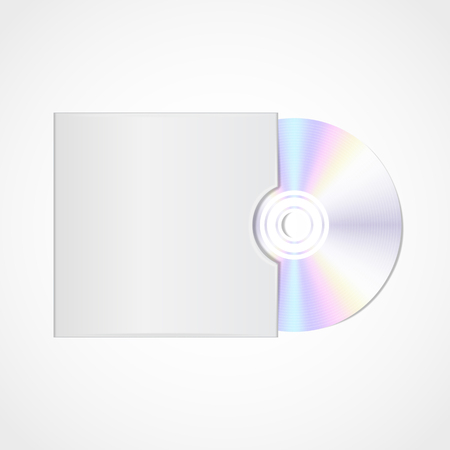 cd rom: Vector realistic  blank compact disc CD or DVD with cover space  isolated on a white background with shadow.Cover design template.Template Illustration