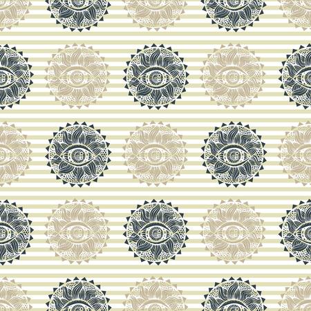 Vector abstract  vision seamless pattern,doodle, mandala, hand draw