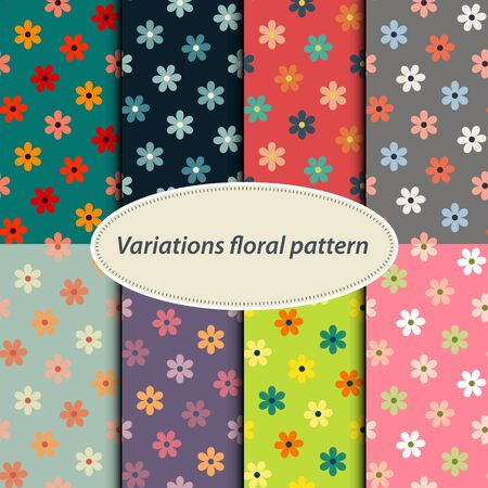 flower patterns: Vector seamless abstract bright color  flower patterns set