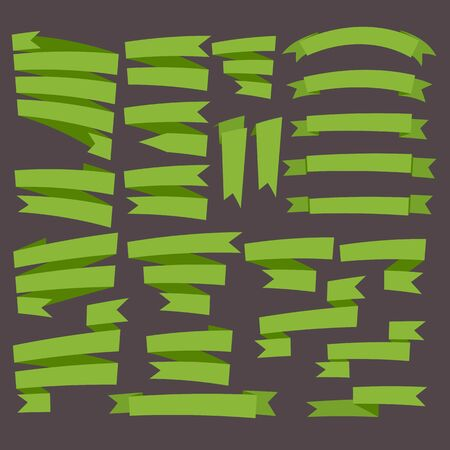 curving: Green curving ribbons set isolated on dark background.Vector.Banner web