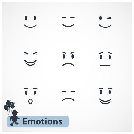 caras graciosas: Emociones Vector caras aislados sobre fondo blanco