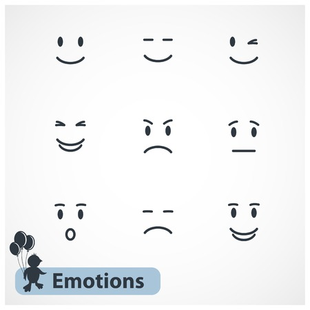 happy sad: Vector emotions faces isolated on white background Illustration