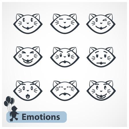 emotions faces: Vector Katzen Emotionen Gesichter auf einem wei�en Hintergrund