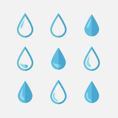potable: Vector drop icons in flat style,blue tones over white Illustration