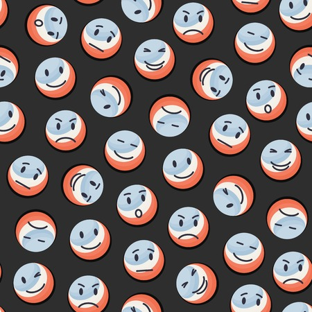 Vector seamless balls pattern with smiley face,emotions Vector