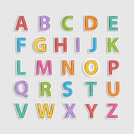 Vector realistic sticker  colorful  alphabet letter  with shadow.Doodle Vector