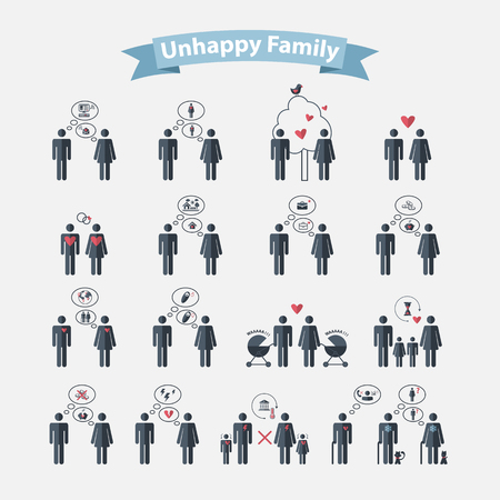 famille malheureuse: Notion vecor famille malheureuse dans le style plat humaine